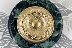Bouton de sonnette marbre vert collerette historique style Empire