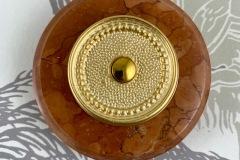 Bouton de sonnette marbre rouge collerette historique style Directoire