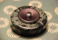 bouton de sonnette marbre vert et chrome