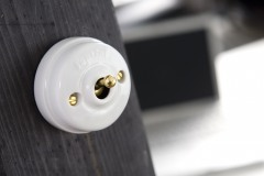 Interrupteur Dimbler porcelaine levier doré