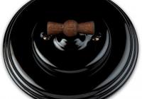 Fontini Garby colonial porcelaine noire manette bois