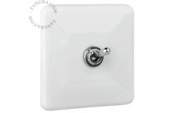 Zangra interrupteur chromé porcelaine