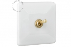 Zangra interrupteur doré porcelaine