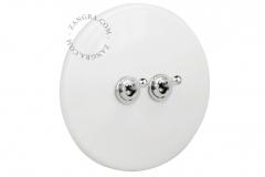 Zangra interrupteur en porcelaine blanche brillante